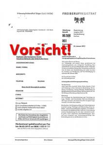 Freiberufregistrat - Vorsicht  Abzockfalle!