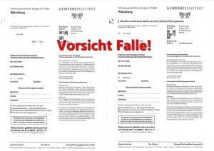 Gewerberegistrat - Vorsicht Falle!
